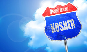 Delicious kosher food, 3D rendering, blue street sign