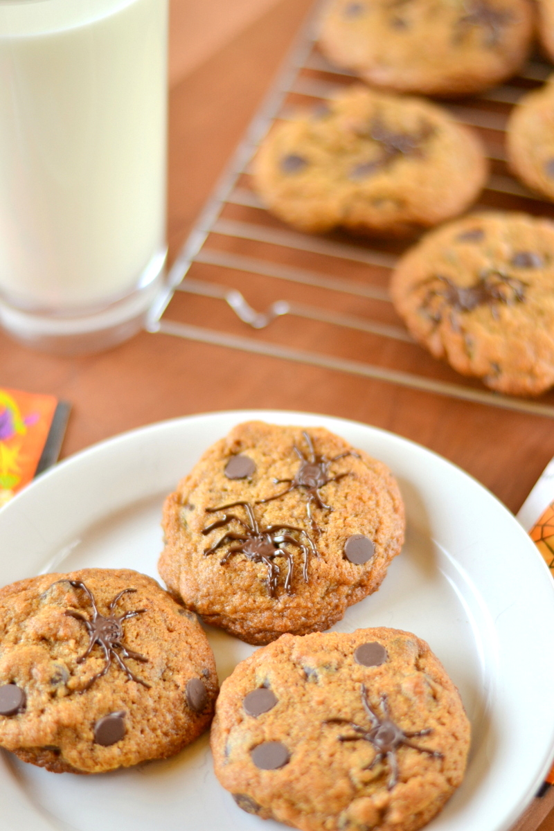 Creepy Whole Wheat Spider Chocolate Chip Cookies