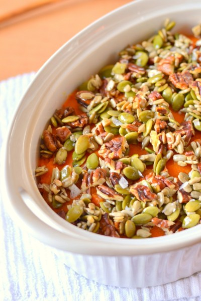 Honey Nut and Seed Sweet Potato Casserole