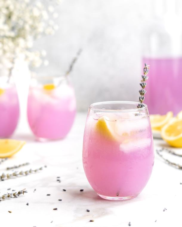 Lemonade is paired with floral lavender to create a lemonade that screams summer
