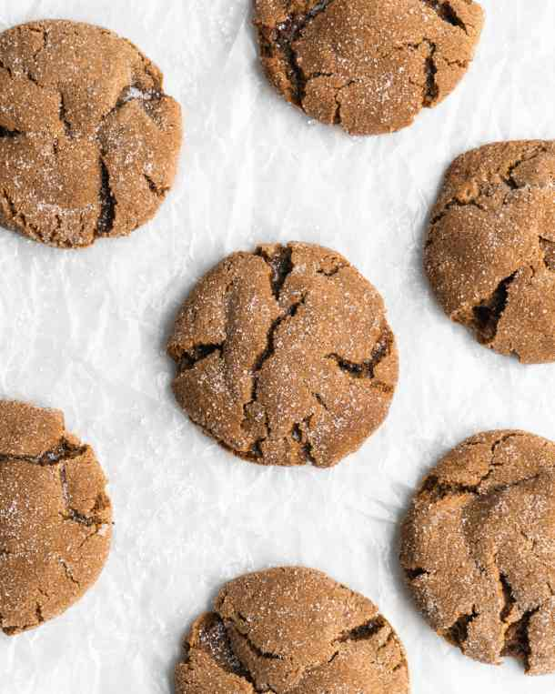 Super chewy and full of Christmas flavor, these crackly topped Cardamom Gingerbread Molasses Cookies are a breeze to make!