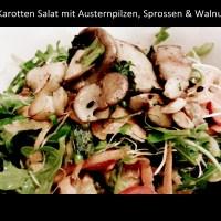 Rucola-Karotten Salat mit Austernpilzen, Sprossen & Walnuss *Vegan