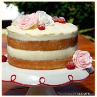 Sponge Cake with Raspberries, Mascarpone Cream & Sugar Roses