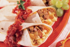 Scrambled Egg and Bacon Burritos