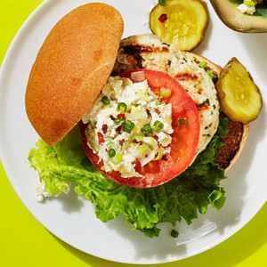 Turkey Burger with Artichoke–Goat Cheese Spread-foodflag