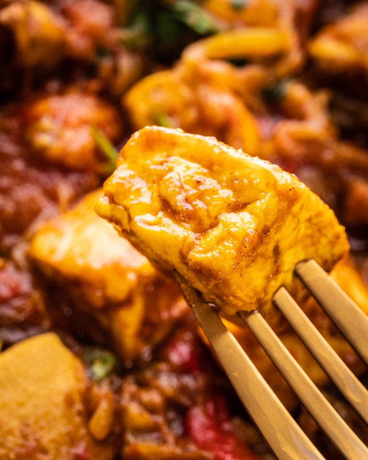 close up of tofu cube covered in curry sauce on a gold fork above a plate of curry