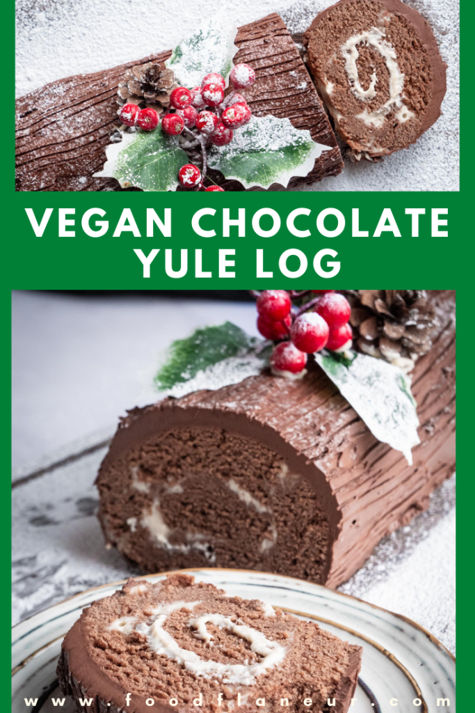 various angles of christmas chocolate log cake topped with ganache and filled with vegan cream frosting