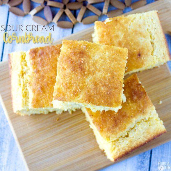 Overhead image of pieces of cornbread.