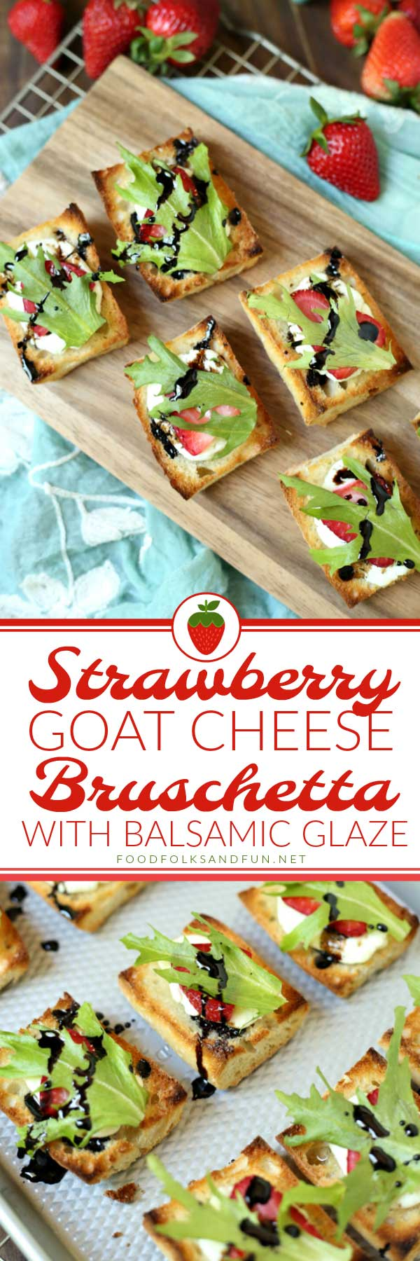 Picture collage of Strawberry Bruschetta for Pinterest.