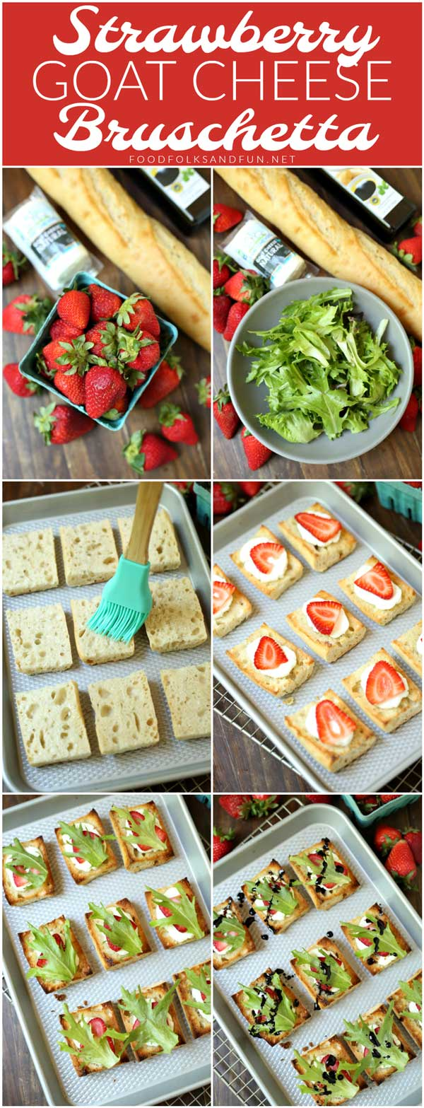 Delicious Strawberry Goat Cheese Bruschetta with Balsamic Glaze for summer parties