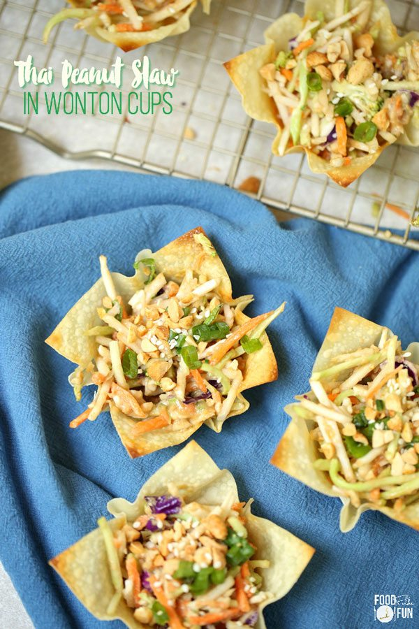 Crispy wonton cup filled with Asian Coleslaw.