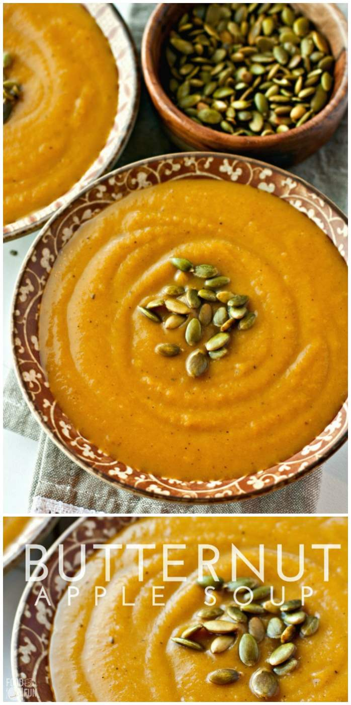 Picture collage of butternut squash soup for Pinterest.