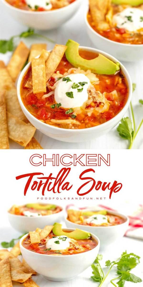 Chicken tortilla soup with avocado, sour cream, and homemade tortilla strips on top.