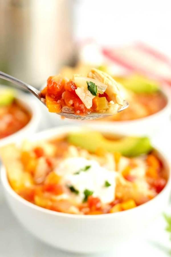 A spoonful of tortilla soup.