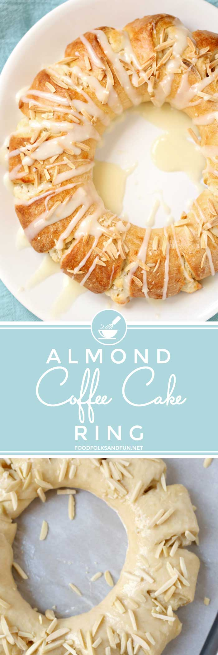 This Almond Coffee Cake Ring or tea ring is a slightly sweet yeast bread filled with almond paste and cream cheese and made into a wreath-shaped pastry. It's baked until golden and then drizzled with icing. This recipe feeds a crowd and is perfect for brunch, and Christmas and Easter mornings. via @foodfolksandfun