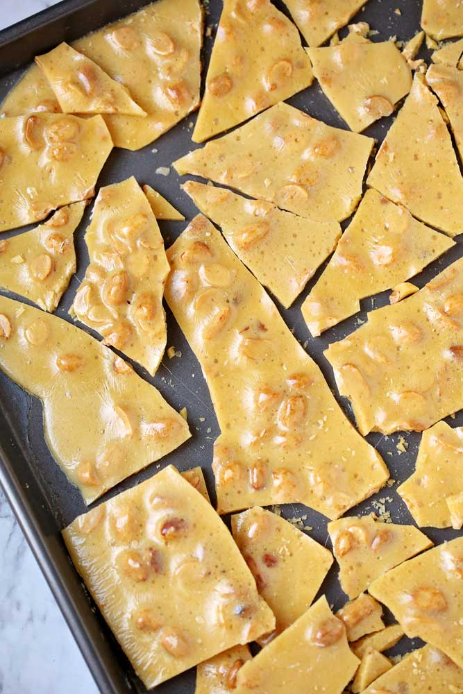 Broken brittle on a sheet pan.