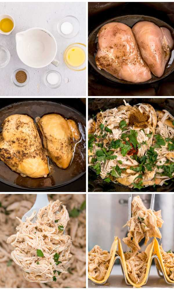Picture collage of the steps to make this shredded chicken recipe.