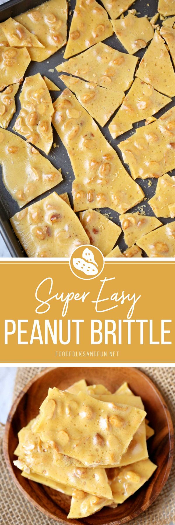 A picture collage of the finished brittle recipe.