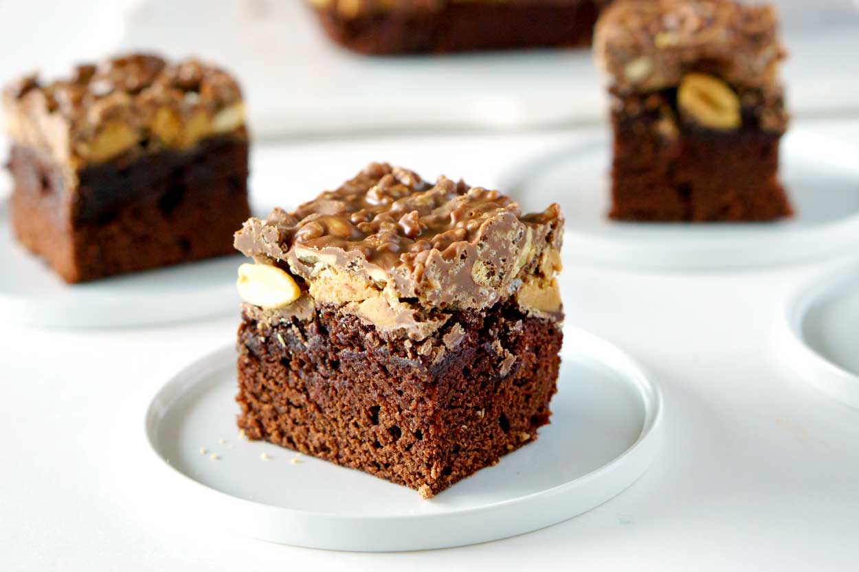 Amazing Peanut Butter Cup Crunch Brownies.