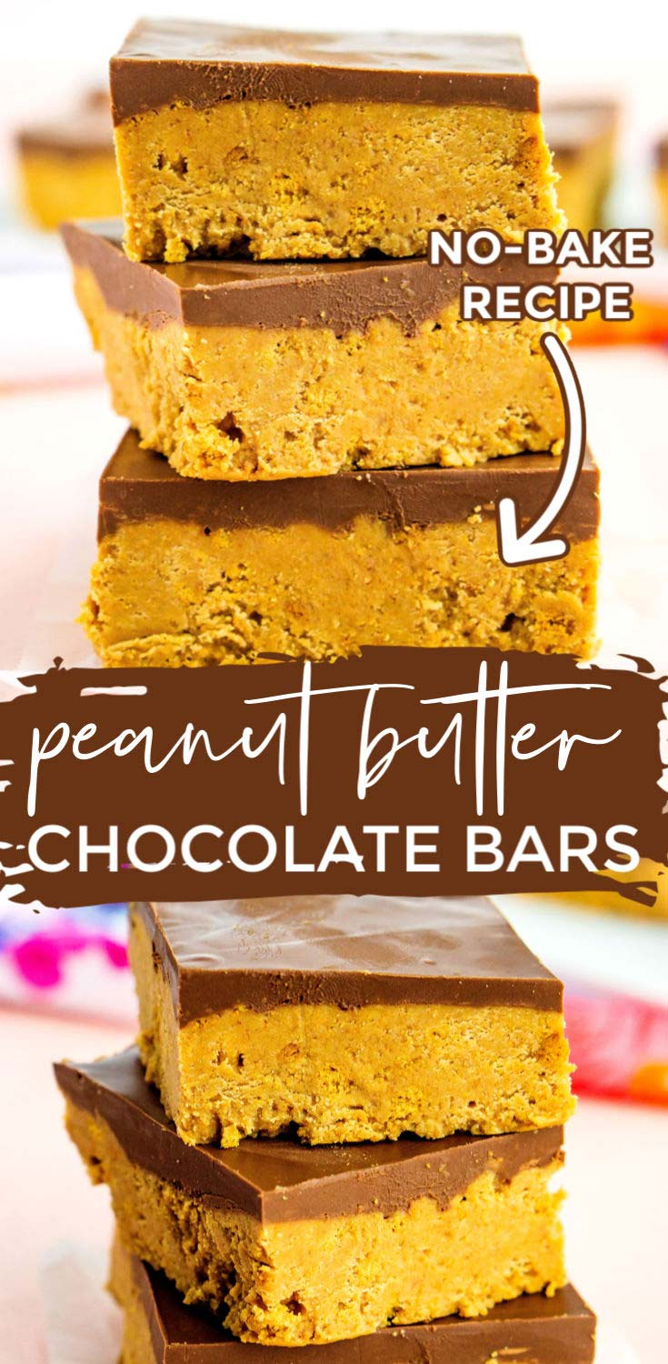 A picture collage of no-bake peanut butter bars with text overlay for Pinterest.