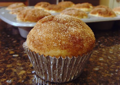 An apple muffin with Crunchy brown sugar topping