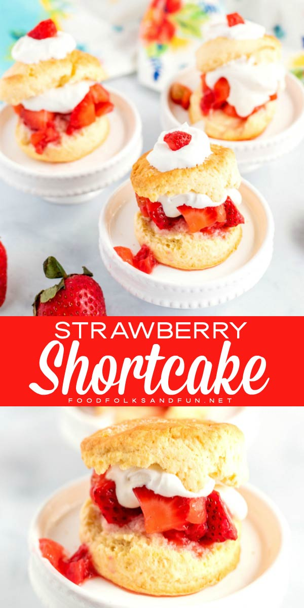 Picture collage of 3 strawberry shortcakes and a closeup picture.
