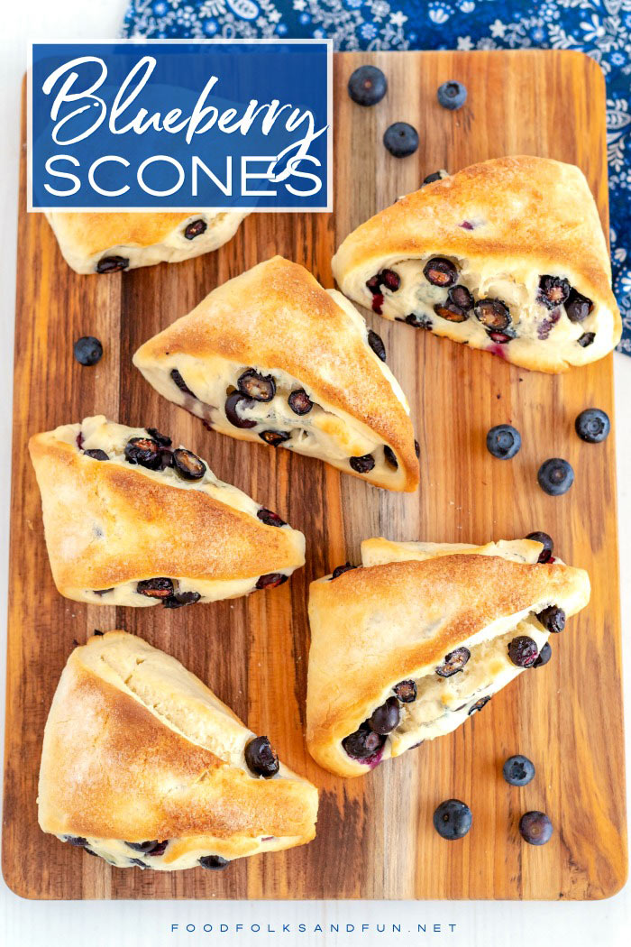 Overhead picture of blueberry scones.