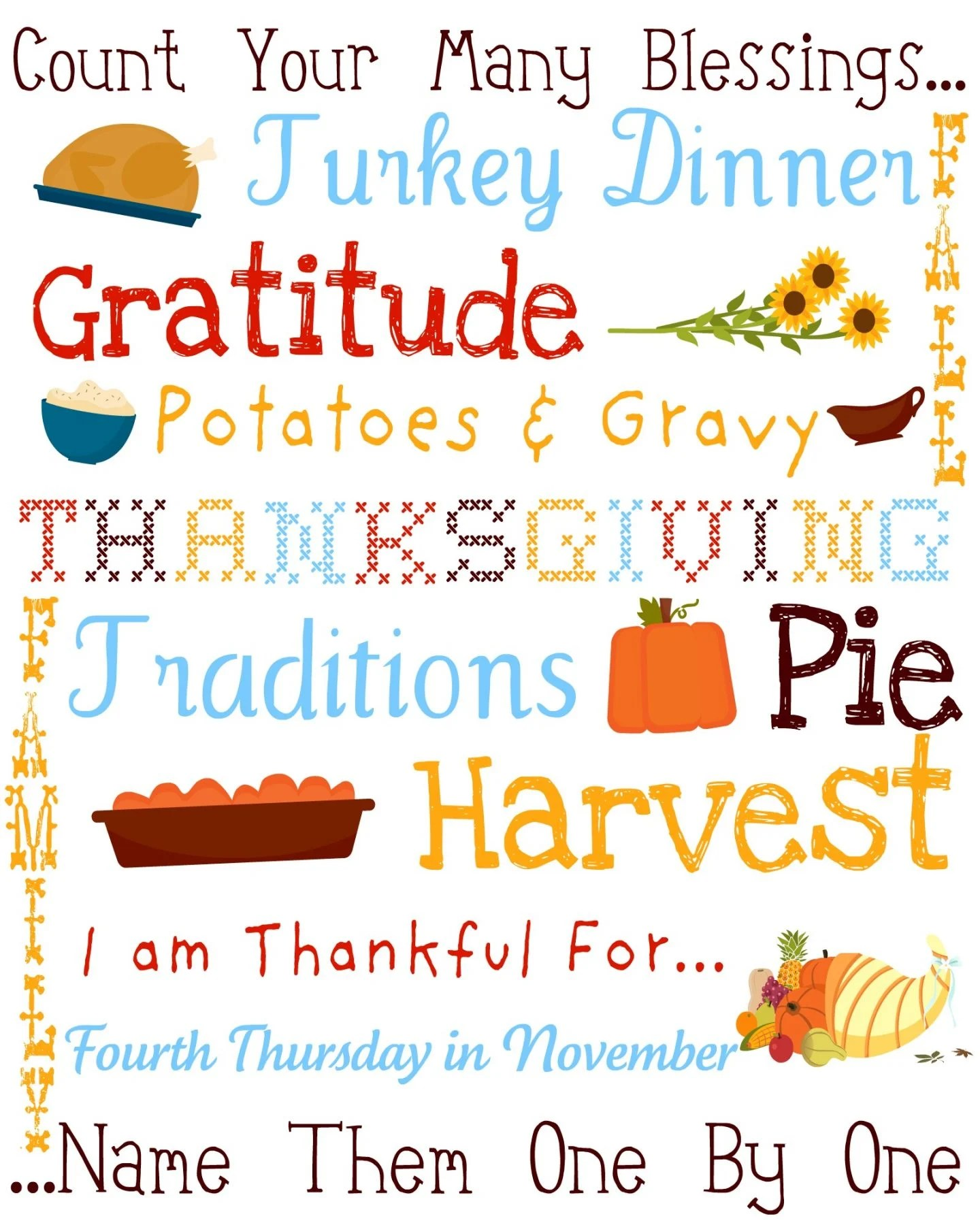 image about Subway Art Printable named Thanksgiving Subway Artwork Printable Meals, Men and women and Enjoyable