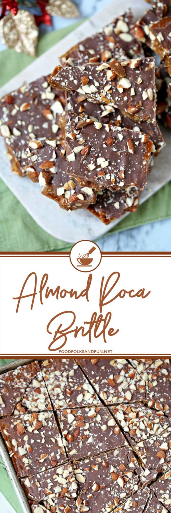 This Almond Roca Brittle is the stuff your crispy, buttery dreams are made of! This is my most requested Christmas recipe EVER, and I made pounds and pounds of it every year!
