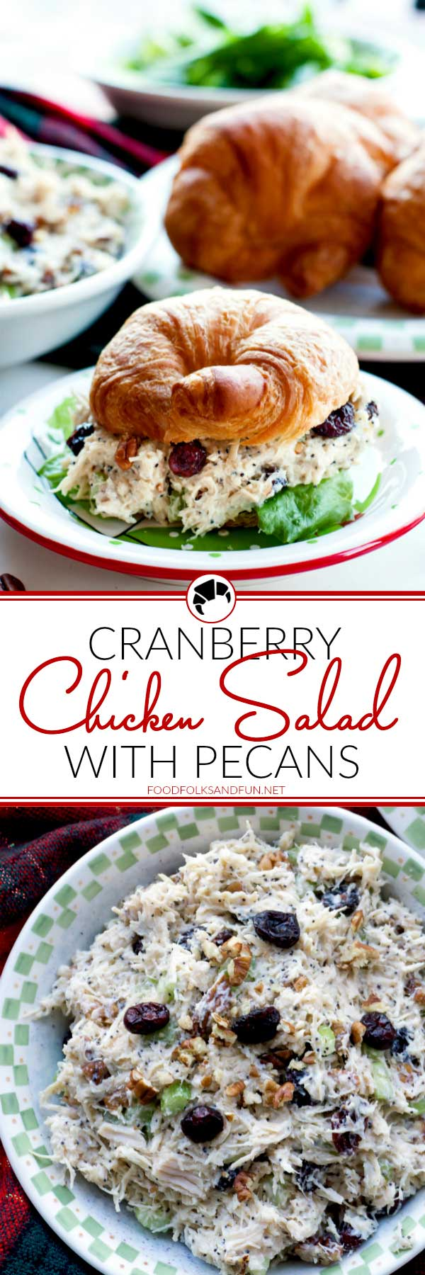 Picture collage of chicken salad for Pinterest.