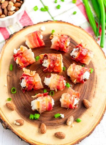 Dates stuffed with goat cheese and almonds and wrapped in bacon.