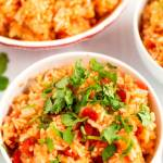 Close up of Mexican rice.
