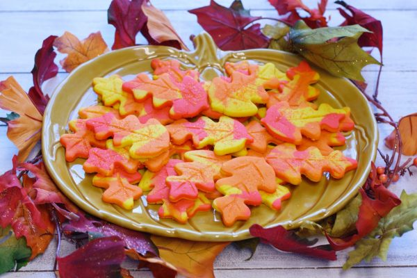 Fall leaf cookies on a pumpkin plate.