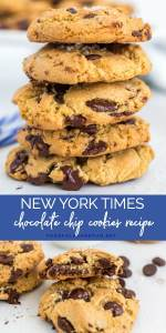 Picture collage of NYT chocolate chip cookies recipe for Pinterest.