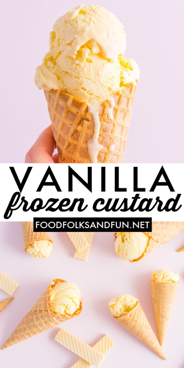This Vanilla Frozen Custard Ice Cream is rich, decadent, and oh so creamy. Pair with your favorite pie, cake, or cookie or simply perfect on its own. via @foodfolksandfun