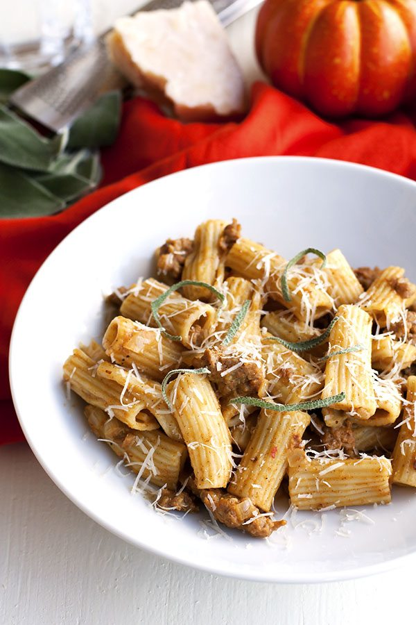 Pumpkin Pasta with sausage and sage in a bowl