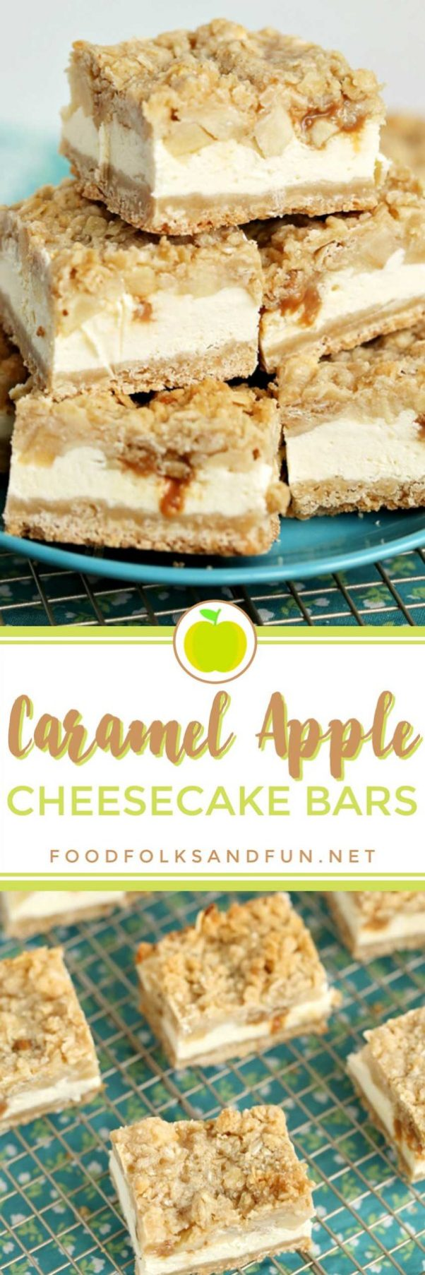 The best Caramel Apple Cheesecake Bars