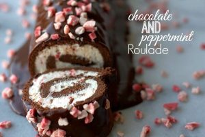 Chocolate and Peppermint roulade with text overlay for Pinterest