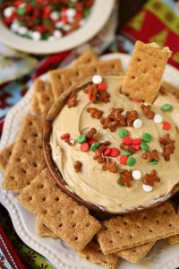 Side shot of gingerbread cheesecake dip in a bowl surrounded by graham crackers.