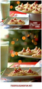 Picture collage of peppermint cookies.
