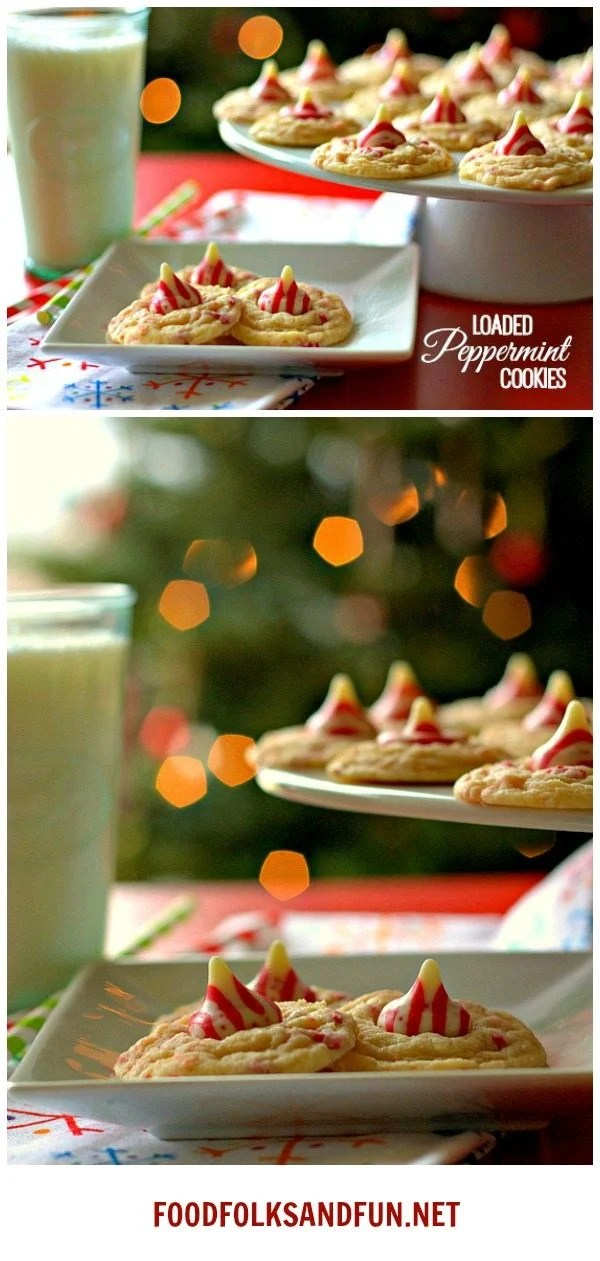 Loaded Peppermint Cookies for all of you peppermint lovers out there! This is a quick and easy Christmas cookie recipe!