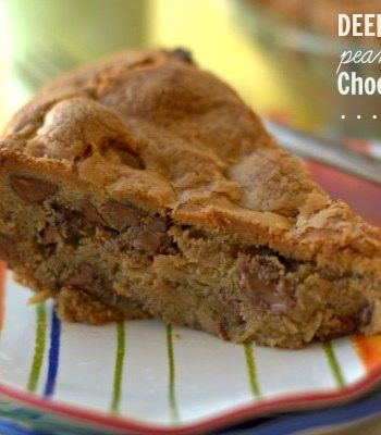A slice of Deep dish peanut butter chocolate chip pie on a plate with text overlay for Pinterest