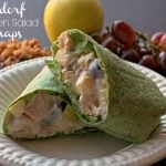 A finished Waldorf chicken salad wrap with text overlay for Pinterest.