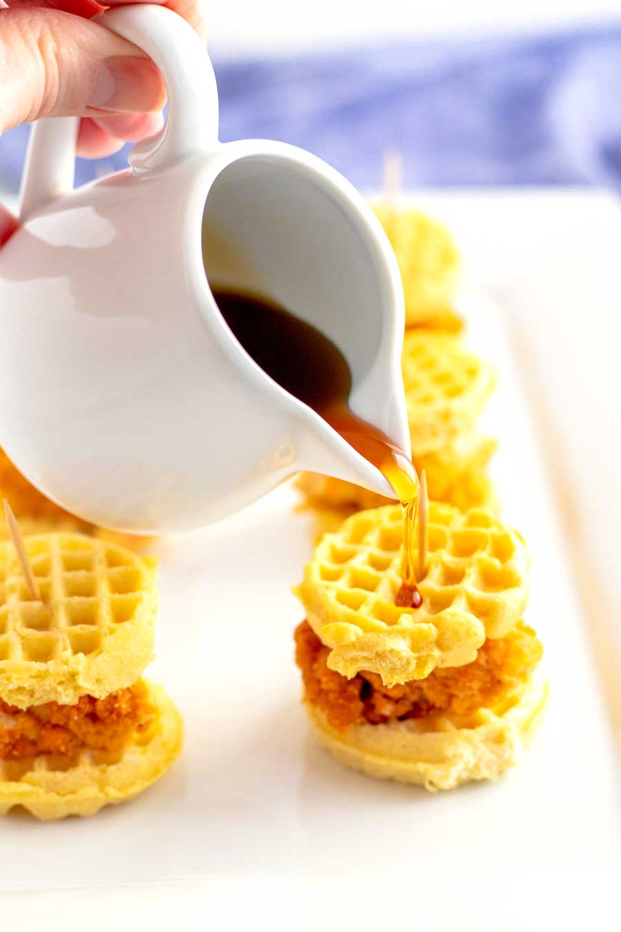 Syrup on Chicken and Waffle Sliders
