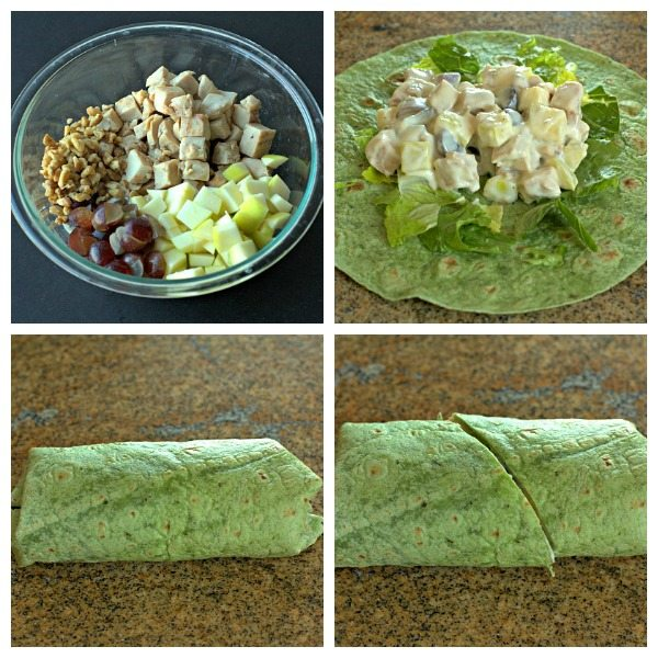 A picture collage of the different steps needed to make these chicken wraps.