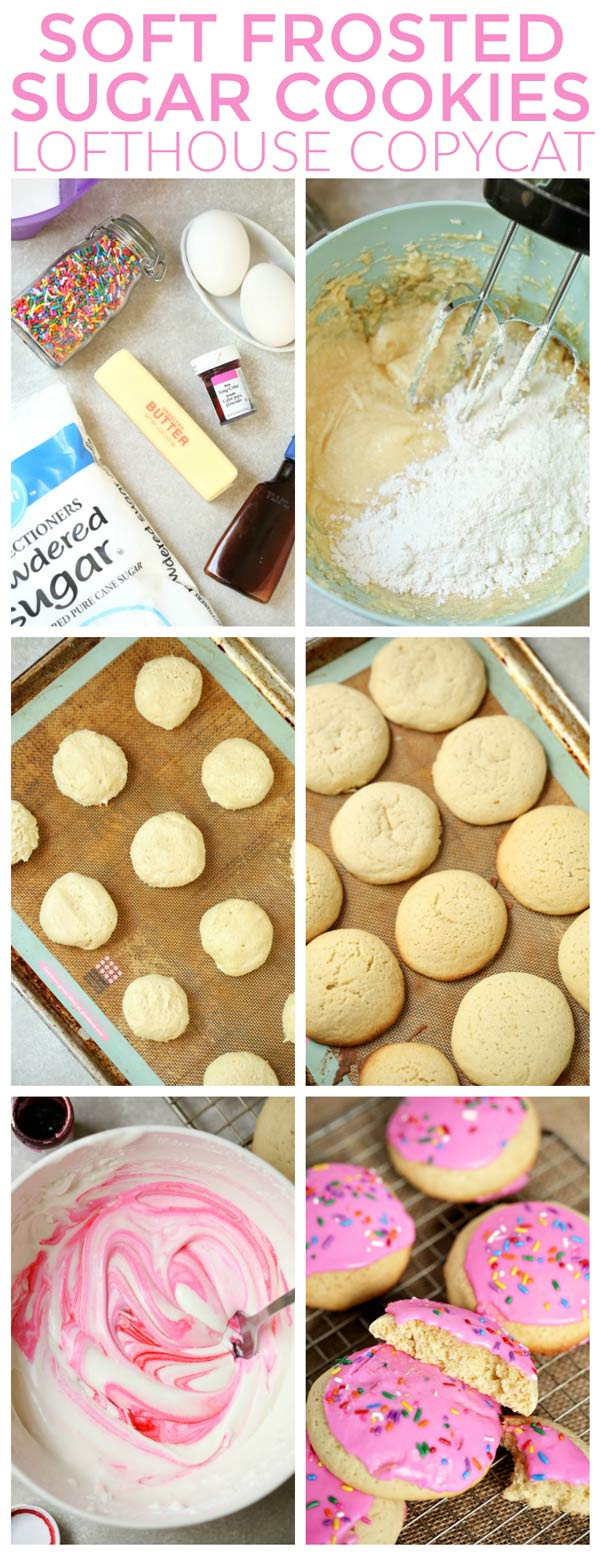 Picture collage of the differnt steps of making sugar cookies.