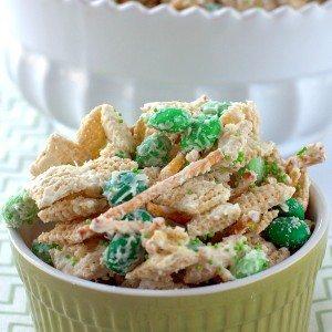 Leprechaun Bait Chex Mix in a small bowl