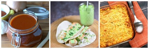 Mexican recipe on a plate, with a smoothie in the background