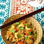 Edamame Stir Fry in a bowl with text overlay for Pinterest
