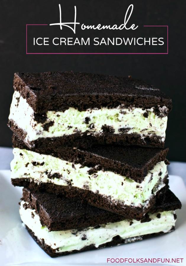 Three stacked ice cream sandwiches.